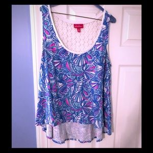 Lilly Pulitzer White, Blue & Pink XL Top